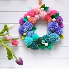 Buy tickets for Spring pompom wreath workshop, London. Information on Spring pompom wreath workshop, Sun, Mar 2018 @ - in London. Diy Spring Wreath, Diy Wreath, Spring Crafts, Wreaths, Hobbies And Crafts, Diy And Crafts, Crafts For Kids, Arts And Crafts, Felt Christmas Decorations
