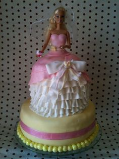 "I have to thank the ""mackandnorm"" channel on YouTube for my inspiration for this Barbie Princess Cake. It was a strawberry flavour..."