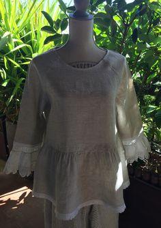 Blouse, tunique, chemise shabby lin dentelle : Chemises, blouses par realisa