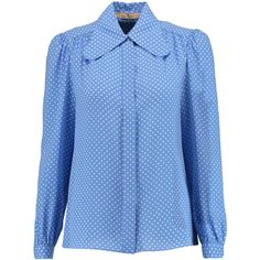 Michael Kors Collection Polka-dot silk-georgette blouse (£275) ❤ liked on Polyvore featuring tops, blouses, light blue, silk georgette blouse, light blue top, blue top, loose tops and shirred top