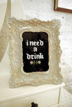 I Need A Drink Framed Stitch by sugarandstitchshop on Etsy, $35.00