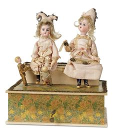 Sonneberg Musical Handwind Toy Attributed to Zinner and Sohne 1500/2100