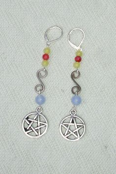 Long Colorful Gemstone Beaded Pentagram Dangle Earrings