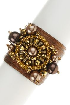 Jewelry by Felicia Bronze Leather Pearl Sparkle Cuff