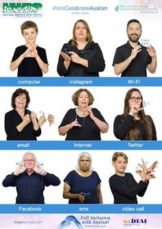 NWDP is an annual celebratory event in the Deaf Community, celebrating Auslan and the culture of Deaf people. Sign Language Book, Simple Sign Language, Sign Language Chart, Sign Language Phrases, Sign Language Alphabet, Sign Language Interpreter, Learn Sign Language, Australian Sign Language, British Sign Language