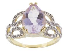 Stratify(Tm) 3.75ct Orchid Amethyst With .46ctw White Topaz 18k  Gold Over Sterling Silver Ring
