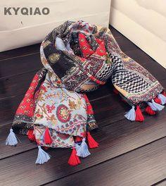 e188ce0e9478 Trouver plus Foulards Informations sur KYQIAO Bohème hijab écharpe 2017  femmes automne hiver Japonais style boho ethnique longue imprimé floral  glands ...