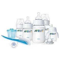 Philips AVENT BPA Free Classic Infant Starter Gift Set Philips AVENT Infant Starter Set. Bottle feeding made easy.AVENT Bottle: Clinically proven to reduce colic. Anti-colic valve reduces colic for less air in baby's tummy. The bottle is made from Polypropylene (PP) a BPA-Free material. (2) 9 ounce/260ml bottles and (2) 4 ounce/125ml bottles included. Milk Powder Dispenser: Ideal for travel. Bottle Brush: Cleans hard to reach areas.Bottle to First Cup Trainer. Nipple and soft spout for easy…