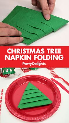 Christmas Tree Napkin Folding Learn this easy Christmas tree napkin folding technique to impress your guests with cute Christmas origami napkins. Includes step-by-step instructions. Christmas Tree Napkin Fold, Christmas Paper Napkins, Origami Christmas Tree, Simple Christmas, Christmas Trees, Christmas Holidays, Christmas Table Settings, Christmas Table Decorations, Christmas Table Set Up