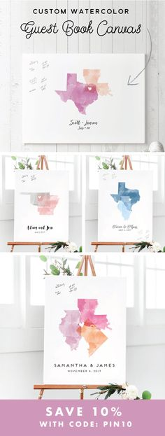 Shop watercolor guest book canvases custom made with the states or countries, colors, and fonts of your choice! Guests sign at the wedding and you can hang as a beautiful work of art in your home after the wedding!