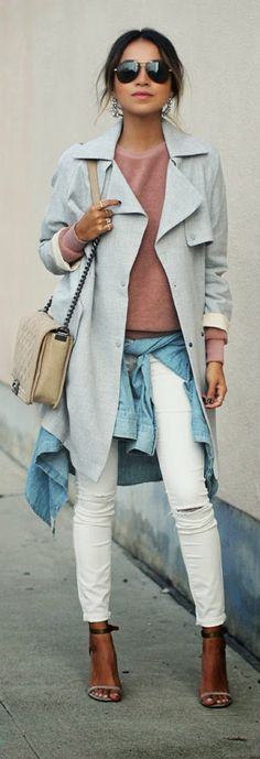 BLUSH - neutral color coat and ripped skinny jeans with blush comfy sweatshirt / Sincerely Jules