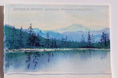 wonderful watercolor mountain landscape in blues and greens! soft tree reflections and towering firs. Landscape Sketch, Watercolor Landscape, Landscape Paintings, Watercolor Paintings, Watercolors, Landscapes, Green Watercolor, Watercolor Artists, Acrylic Painting Lessons