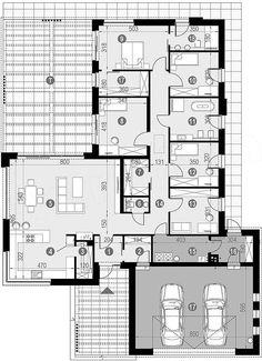 Rzut parteru projektu HomeKoncept-68 Village House Design, Village Houses, New House Plans, Small House Plans, Small House Design, Modern House Design, Beautiful House Plans, Lobby Design, Bedroom House Plans