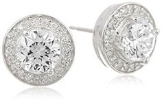 Sterling Silver Simulated Diamond Round Halo Stud Earrings - - Product Description: The ideal accessory for making a stellar impression, this pair of sterling silver ea Women's Jewelry Sets, Fine Jewelry, Round Earrings, Women's Earrings, Diamond Jewelry, Diamond Earrings, Gold Jewellery, Bling Wedding, Modern Jewelry