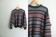 vintage men's '80s/'90s GEOMETRIC PATTERNED fair isle KNIT pullover sweater. size l xl.