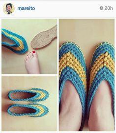 Zapatillas, en crochet, con suela de alpargata by retofinde.