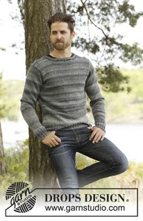 154abfd9e Knitted DROPS men s jumper with set in sleeves in Fabel and Delight. Size S- XXXL. Free knitting pattern by DROPS Design.