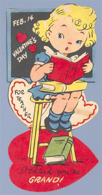 Vintage Valentine Museum: School Themes and Teacher Cards