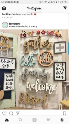 Pegboard to display wooden signs at a craft show craft show booths, craft show ideas Router Projects, Wood Projects, Woodworking Projects, Trotec Laser, Laser Cut Wood, Laser Cut Signs, Craft Show Displays, Craft Show Ideas, Arte Pallet