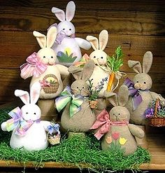 Bunches of Bunnies - Wool Felt, Felt Appliqué Countryside Craft PATTERN