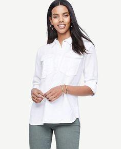 #Ann Taylor - #Ann Taylor Ann Taylor Petite Safari Button Down Shirt - AdoreWe.com