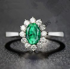Oval Shape 14K White Gold Over Green Emerald Diamond Engagement Wedding Ring All #ElleDiamonds #FlowerEngagementRing #EngagementWedding