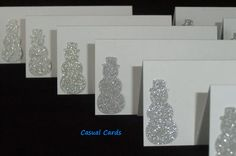 Silver Snowmen Holiday Place Escort Cards 10 - pinned by pin4etsy.com