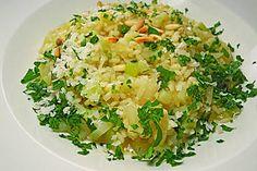 Kohlrabi-Risotto mit Pinienkernen