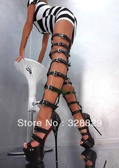 Thigh High Women Sandals Boots Gladiator Buckle Strap Over The Knee Cut Out Boot | eBay