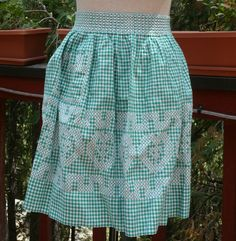 Vintage 50's Apron Green White Gingham Embroidery by WillowBloom