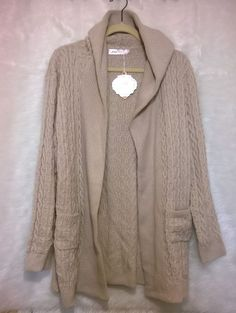 NWT Simply Couture Beige Cable-Knit Hooded Wool-Blend Open Cardigan Sweater Sz L #SimplyCouture #Cardigan #Casual