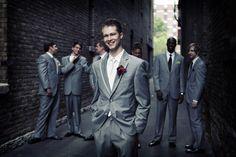 Grey groomsmen suits