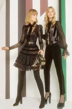 Elie Saab Pre Fall 2017: Sexy lace and beautiful velvet! The black lace dress is lovely and the over the knee boots makes the look a bit sexy. The black velvet pants look lovely with the blouse. Fabulous platforms!