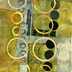 The Old Cells Studio - Michèle Brown Art - a monoprint with acrylics and collage (I love the repetition of the circle shape in lines)