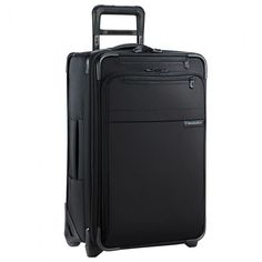 Briggs & Riley Baseline Carry-On Spinner in Black. A compact suitcase for long and short haul travels, the Baseline Carry-On by Briggs and Riley takes the term 'packing light' to a whole new level. Equipped with patented CX Compression-Expansion Techn Lightweight Carry On Luggage, Nylons, Briggs And Riley, Domestic Airlines, Best Travel Bags, Luggage Reviews, Cabin Bag, Overhead Storage, Carry On Suitcase