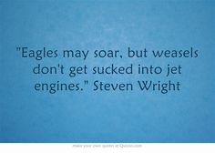 """""""Eagles may soar, but weasels don't get sucked into jet engines."""" Steven Wright"""
