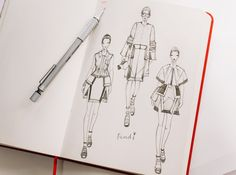 Sketching of Fendi SS 13  on Fashionary Red Sketchbook