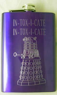STOP THIS IS SO AWESOME!! AND ITS MY FAVORITE COLOR!!!  Hey, I found this really awesome Etsy listing at http://www.etsy.com/listing/167193726/dalek-flask-purple-engraved-dalek-and