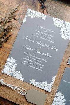 Grey and White Wedding Invitations / http://www.deerpearlflowers.com/grey-fall-wedding-ideas/ #weddinginvitation