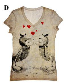 encantadora mujer beso top estampado, camiseta y tanque con tamaño de xs-más corazones rojos por hellominky(86)