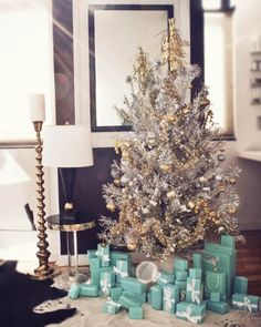 Glam silver & gold tree with Tiffany boxes underneath -- every girl's Christmas wish!