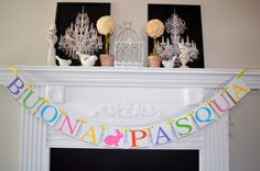 BUONA PASQUA - Italian Happy Easter banner, Easter mantle decoration, Italian Easter decorations, Buona Pasqua Sign, Buona Pasqua banner