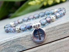 Purple Crystal Beads with a Cross Spiritual Bracelet