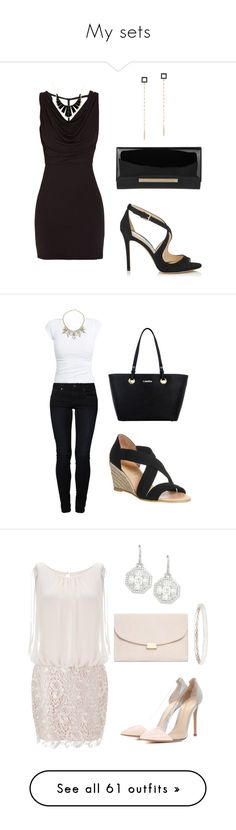 """""""My sets"""" by hallierosedale ❤ liked on Polyvore featuring Jimmy Choo, Morgan, Lana, House of Harlow 1960, even&odd, Office, ABS by Allen Schwartz, Calvin Klein, Aidan Mattox and Gianvito Rossi"""