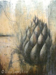 """Longing"" by Alicia Tormey - encaustic, oil & collage on wood."