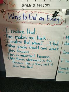 Ways to end an essay / expository writing Expository Conclusions, Expository Writing, Story Elements, Writing Workshop, English Vocabulary, Anchor Charts, Language Arts, Learn English, School Stuff