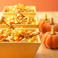 Wicked-Easy Snack Mix  For an easy Halloween party snack, toss together equal amounts candy corn, pretzels, peanuts, and corn chips. The delicious combination of sweet and salty will have this tasty appetizer disappearing in no time.
