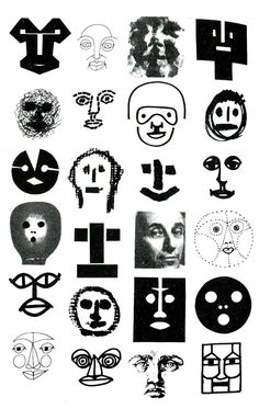 """Bruno Munari (b. 1907 - d. Italy) - Drawings from Bruno Munari's book: """"Design As Art"""", ~ Multiple identity of Faces in Tipography. Face Illustration, Illustrations, Typographie Logo, Art Graphique, Graphic Design Posters, Art Plastique, Figurative Art, Art Inspo, Collages"""