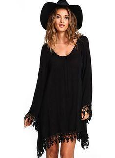 Lin Neutre Manches longues Au-dessus du genou Vintage Robes (1026806) @ floryday.com