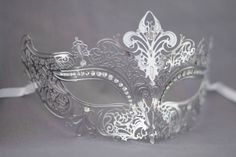 Silver / Grey laser cut metal masquerade mask perfect for wedding masquerade parties, masquerade ball mask for new years party